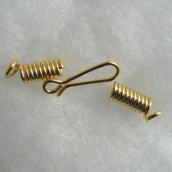 Spring end and hook SET. Gold colour. Pack of 5 SETs.