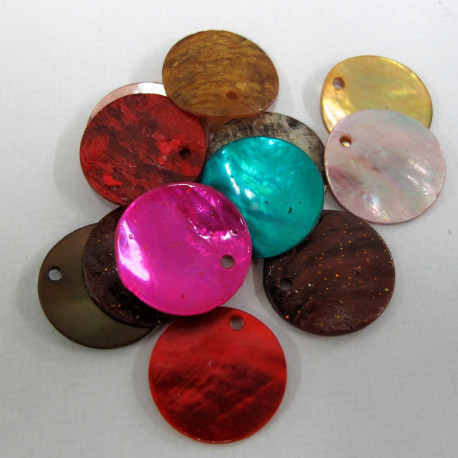 SHL1010- Shell Disc Beads, Mixed Colours. Pack of 20