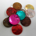 Shell disc beads, mixed colours. Pack of 20
