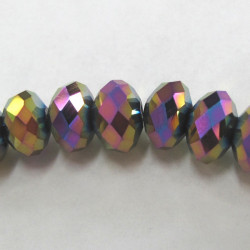 Gold rainbow rondelles. Strand of 18 beads.