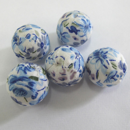 TX0001- Fabric covered 20mm blue floral beads. Pack of 5.