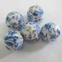 Fabric covered 20mm blue floral beads. Pack of 5.