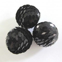 Black 22mm sequin covered bead. Pack of 3.