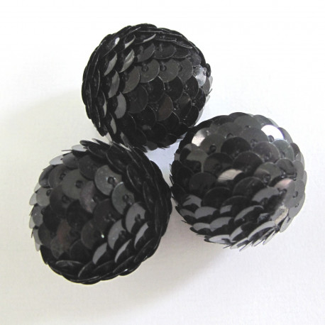 TX1010 - Black 22mm sequin covered bead. Pack of 3.