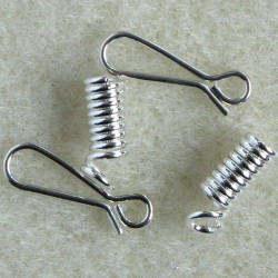 Spring end and hook SET. Silver colour. Pack of 5 SETs.