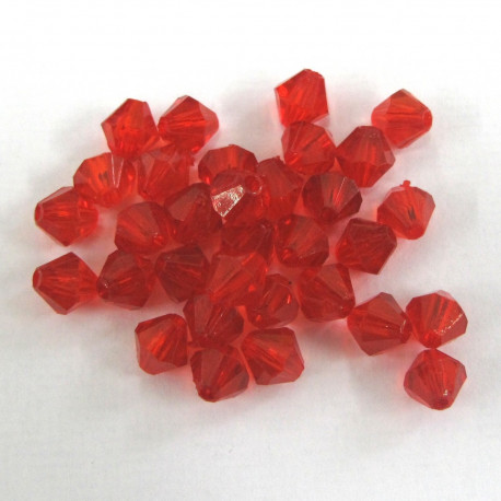 AC4708 - Red 6mm acrylic bicone. Pack of 100