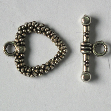 F4074s - Antique Silver Coloured Whole Heart Shaped Toggle Clasp, Heart Size Approx. 19 mm by 17 mm.