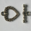 Antique silver coloured whole heart shaped toggle clasp, heart size approx. 19 mm by 17 mm.