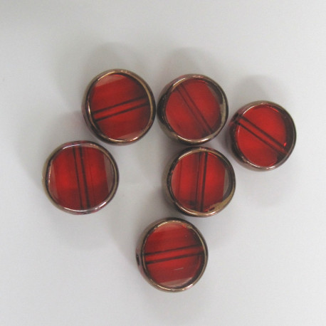 GB2352 - Red glass coin bead with copper edge. Pack of 10.