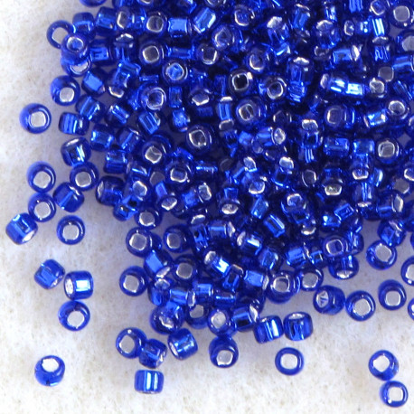 MTSL011 - Matsuno Silver Lined, Cobalt Blue, Size 11 Seed Beads.