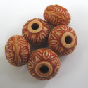 Large hole light brown beads. Pack of 10