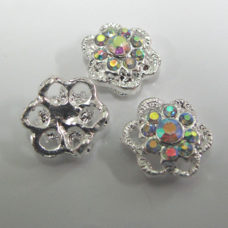 F6118 - Diamonte style 2 hole spacer. Pack of 3.