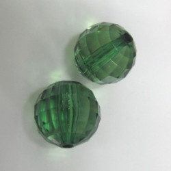Multi facet green acrylic bead. Pack of 10