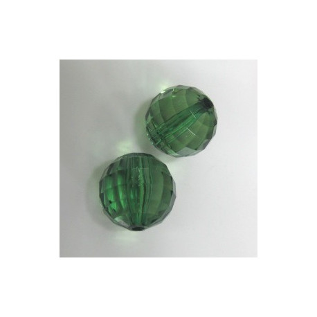 AC4944 - Multi facet green acrylic bead. Pack of 10