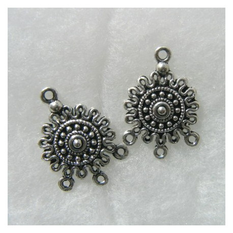F4165S - Antique silver colour 3 hole dangler. Sold per pair. 25 x 18mm