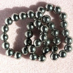 8mm bright pewter col. Glass beads, approx. 40 per string.