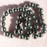 GB1780 - 8mm Bright Pewter Col. Glass Beads, Approx. 40 Per String.