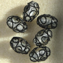 Lovely lamp-work silvered beads. Pack of 6.