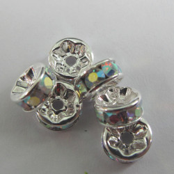 RN8010 - 8mm clear AB rondelles. Pack of 6.