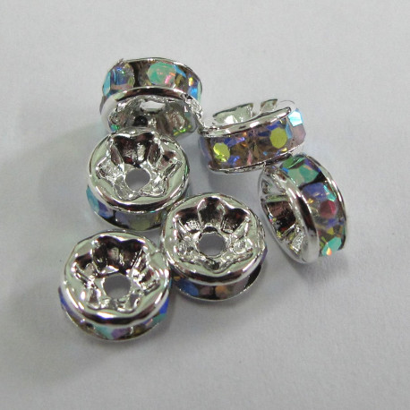 RN6010 - 6mm clear AB diamonte rondelles. Pack of 6.