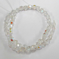 3mm clear AB fire polished beads. Pack of 100