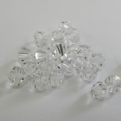 Clear 6mm crystal bi-cones. Pack of 25