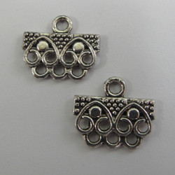 Multi hole bar, silver colour, approx. 21 mm by 14 mm. Sold per pair.