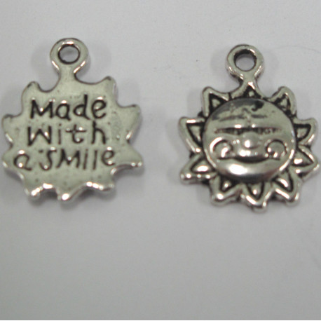 """F8516 - Antique Silver Colour Sun Charms. """"Made With A Smile"""". Pack of 10"""