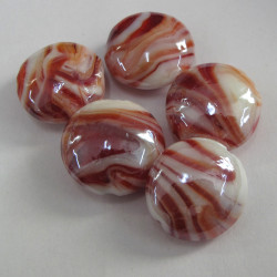 Coin shape stripe glass beads. Pack of 5
