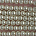 8mm cream coloured glass pearls, approx 27 per string.