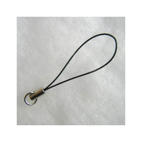 F4220b - Mobile Phone Strap, Black and Silver Coloured.
