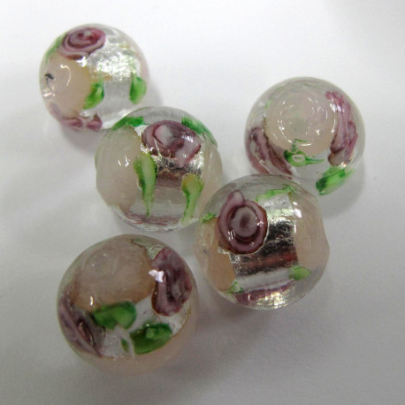 LW34 - Handmade,silvered glass rose bead. Pack of 5.