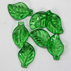 Small lucite leaf, translucent green.