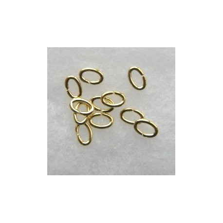 F4310G - Oval Jump Rings, 4 x 6mm, Gold Coloured.