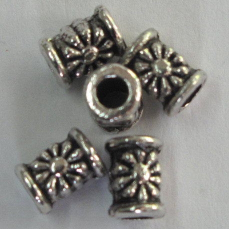 F4148 - Small Tubular Bead, Embossed Flower Design.