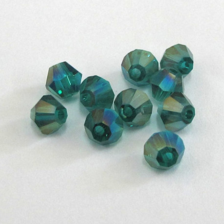 CR4455 - 4mm crystal bicone. Green AB. pack of 50